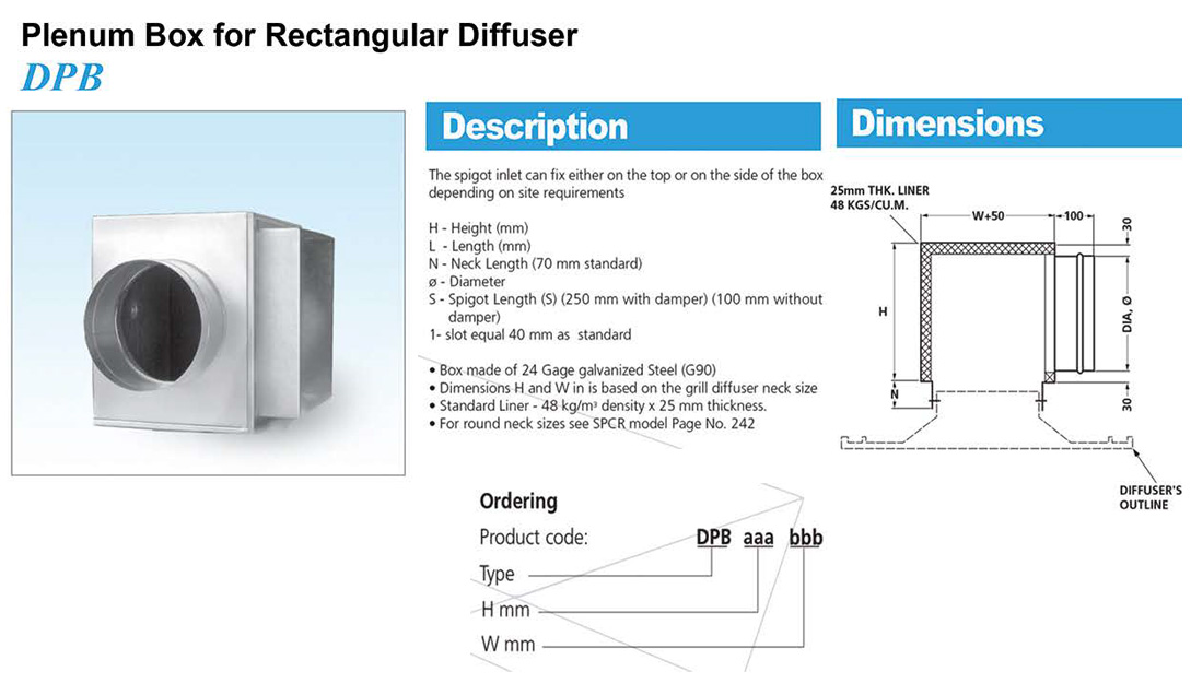Plenum box for rectangular diffuser